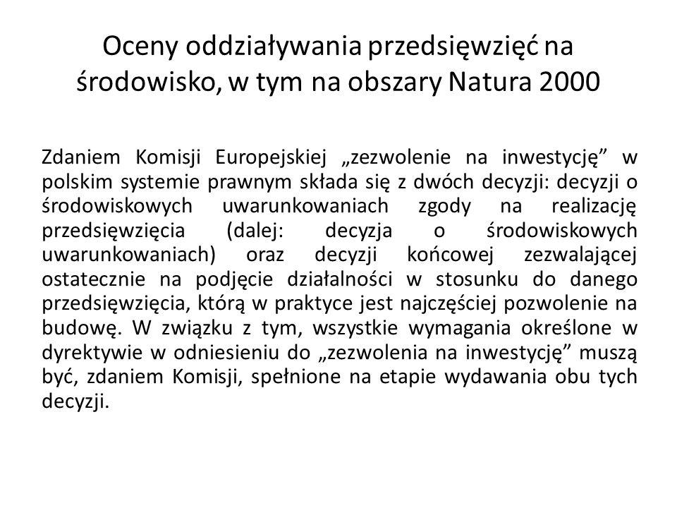 Oceny oddziaływania przedsięwzięć na środowisko, w tym na obszary Natura 2000