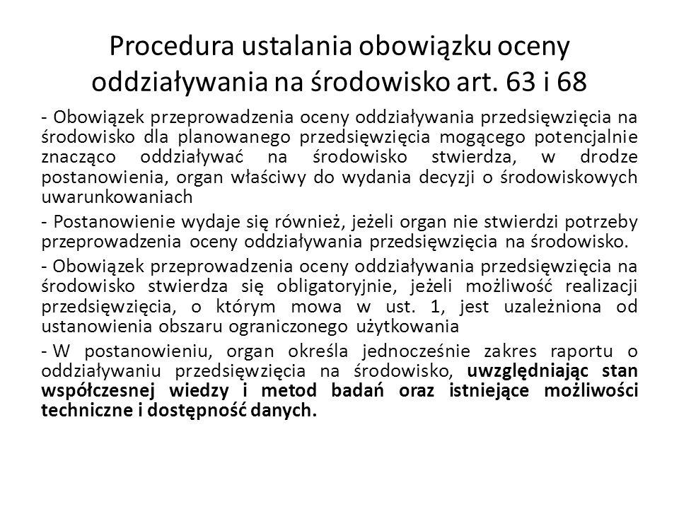 Procedura ustalania obowiązku oceny oddziaływania na środowisko art