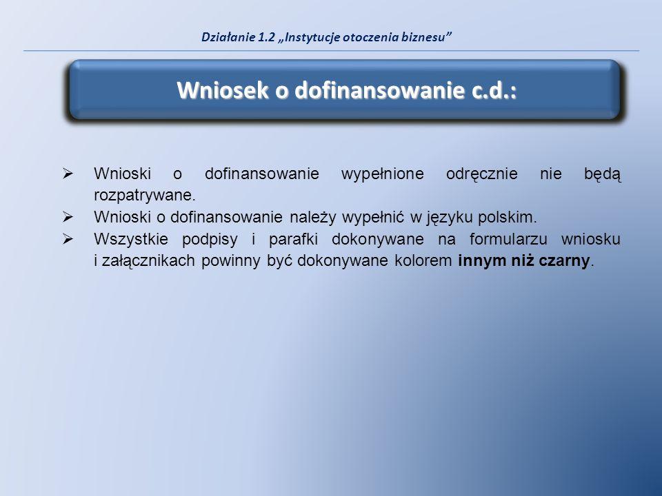 Wniosek o dofinansowanie c.d.:
