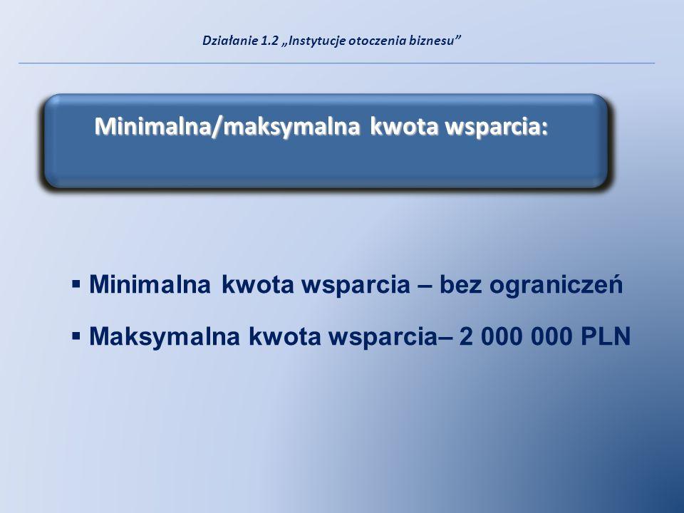 Minimalna/maksymalna kwota wsparcia: