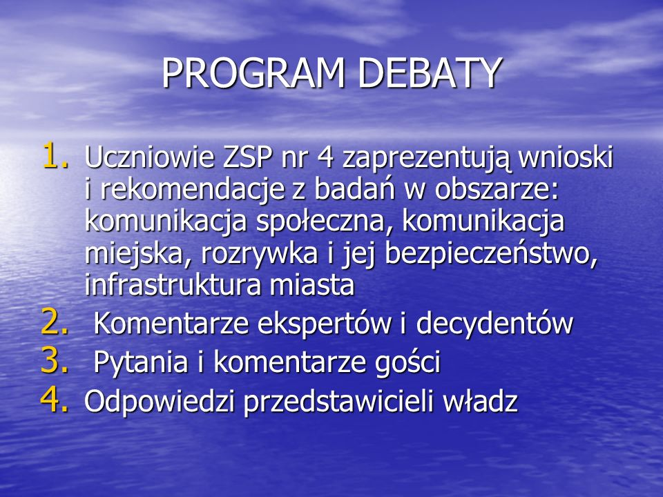 PROGRAM DEBATY
