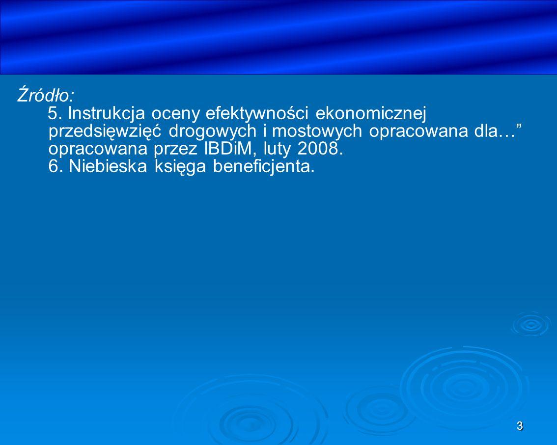 Źródło: 5. Instrukcja oceny efektywności ekonomicznej przedsięwzięć drogowych i mostowych opracowana dla… opracowana przez IBDiM, luty 2008.