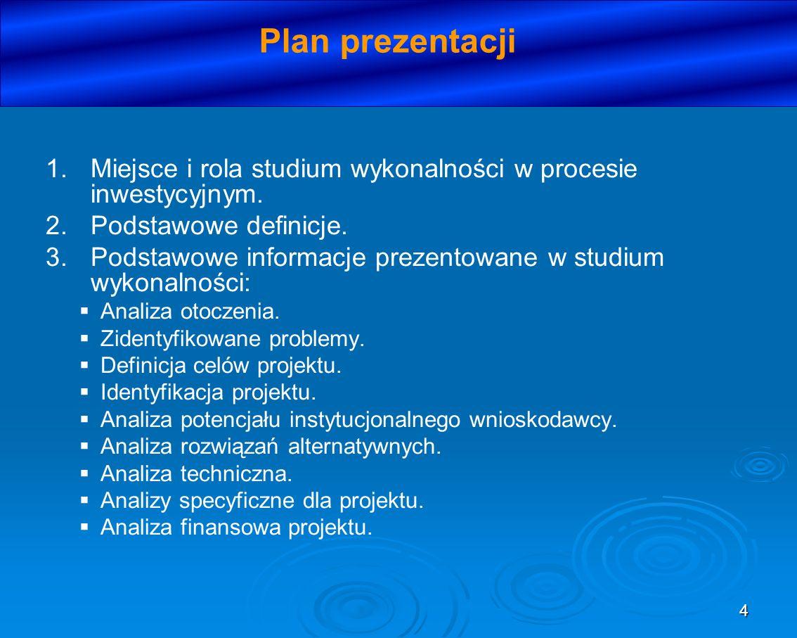 Plan prezentacji Miejsce i rola studium wykonalności w procesie inwestycyjnym. Podstawowe definicje.