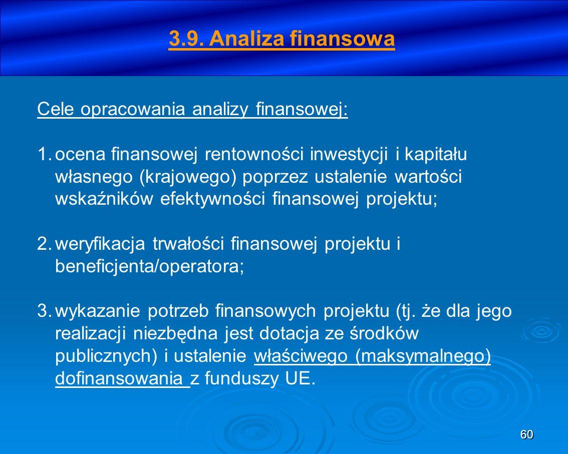 3.9. Analiza finansowa Cele opracowania analizy finansowej: