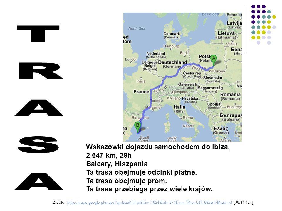 TRASA Wskazówki dojazdu samochodem do Ibiza, 2 647 km, 28h