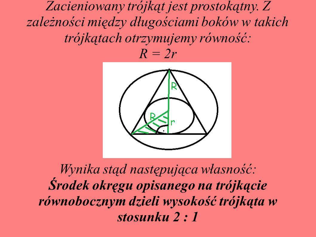 Zacieniowany trójkąt jest prostokątny