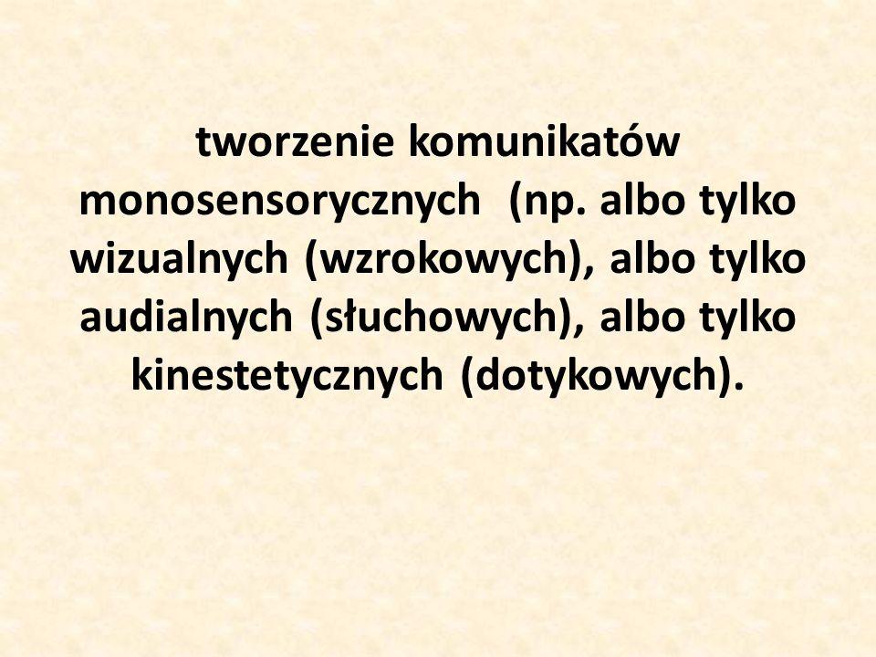tworzenie komunikatów monosensorycznych (np