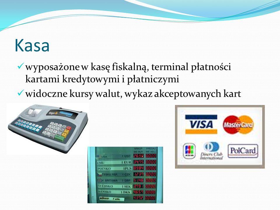 Kasa wyposażone w kasę fiskalną, terminal płatności kartami kredytowymi i płatniczymi.