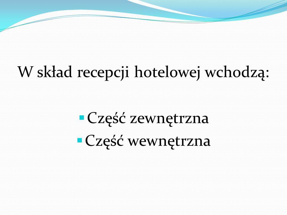 W skład recepcji hotelowej wchodzą: