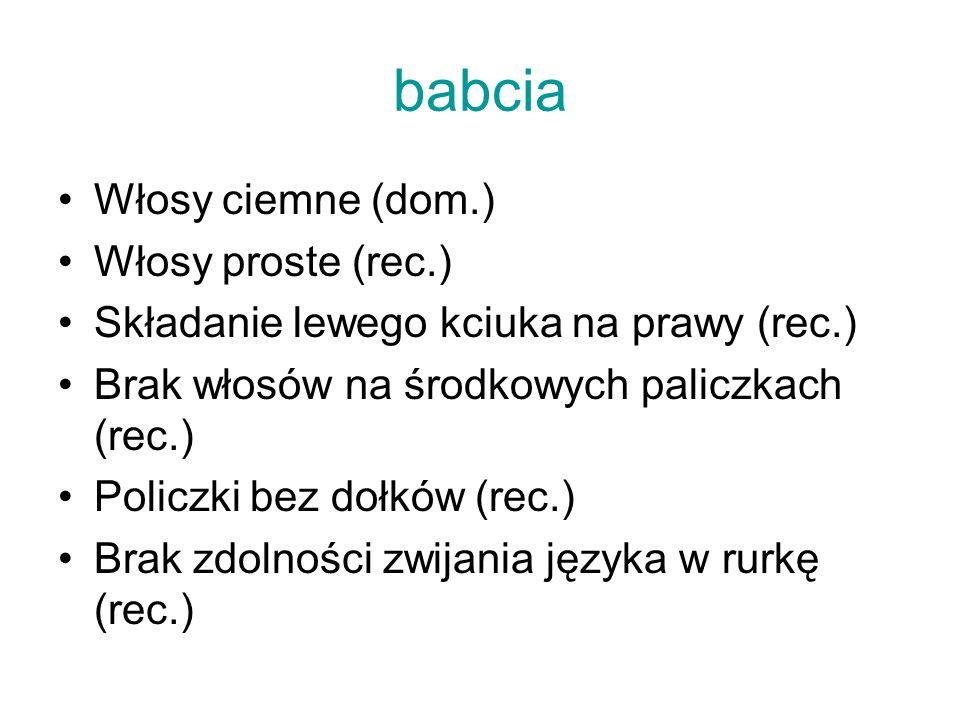 babcia Włosy ciemne (dom.) Włosy proste (rec.)