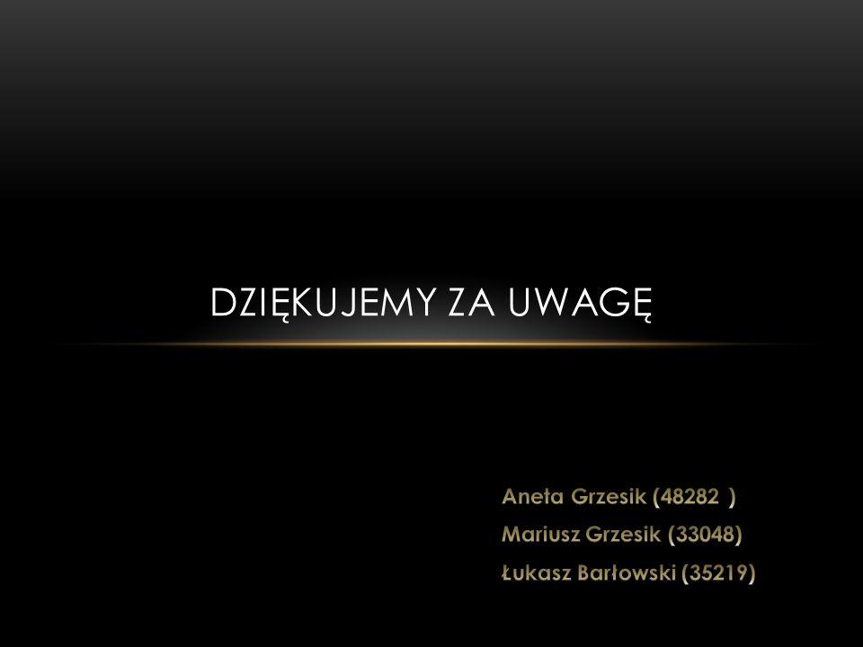 Dziękujemy za uwagę Aneta Grzesik (48282 ) Mariusz Grzesik (33048)
