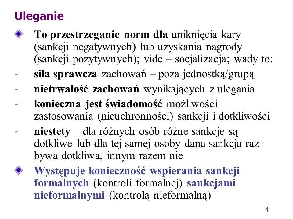 UleganieTo przestrzeganie norm dla uniknięcia kary (sankcji negatywnych) lub uzyskania nagrody (sankcji pozytywnych); vide – socjalizacja; wady to: