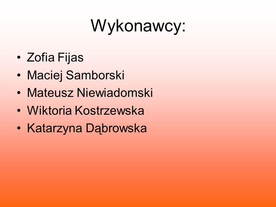Wykonawcy: Zofia Fijas Maciej Samborski Mateusz Niewiadomski
