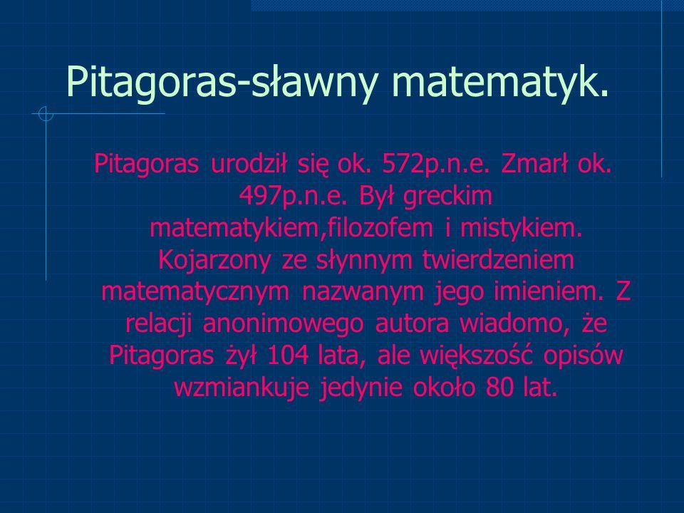 Pitagoras-sławny matematyk.