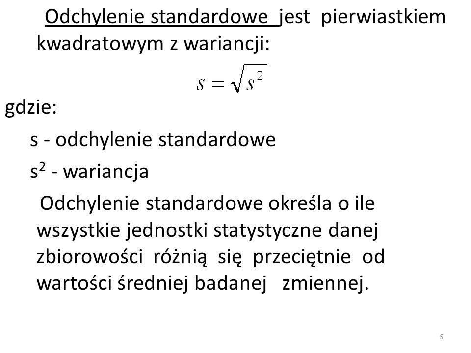 Odchylenie standardowe jest pierwiastkiem kwadratowym z wariancji: