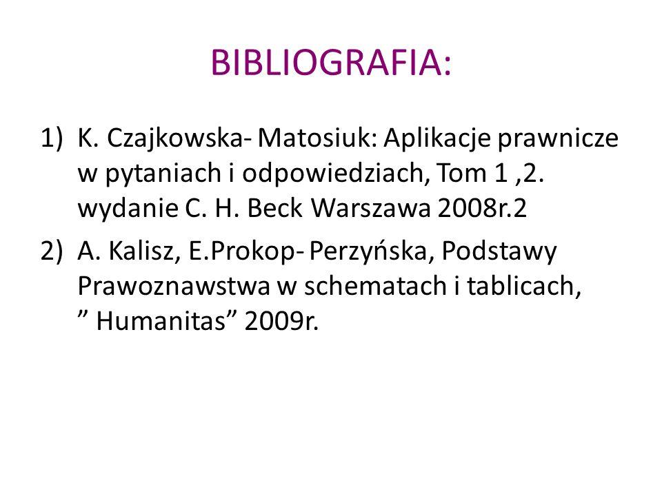 BIBLIOGRAFIA: K. Czajkowska- Matosiuk: Aplikacje prawnicze w pytaniach i odpowiedziach, Tom 1 ,2. wydanie C. H. Beck Warszawa 2008r.2.