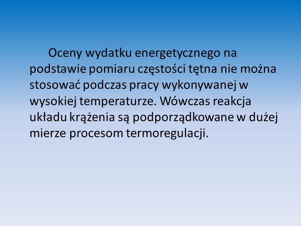 Oceny wydatku energetycznego na podstawie pomiaru częstości tętna nie można stosować podczas pracy wykonywanej w wysokiej temperaturze.