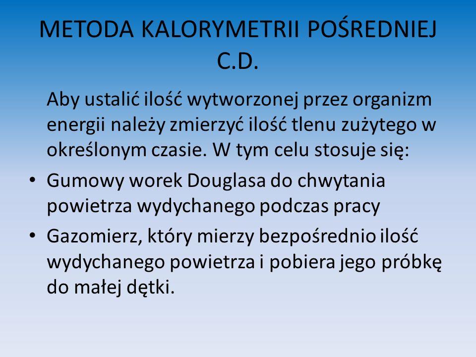 METODA KALORYMETRII POŚREDNIEJ C.D.