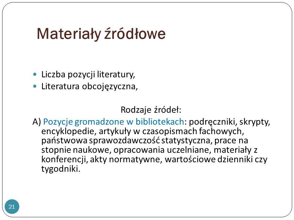 Materiały źródłowe Liczba pozycji literatury, Literatura obcojęzyczna,