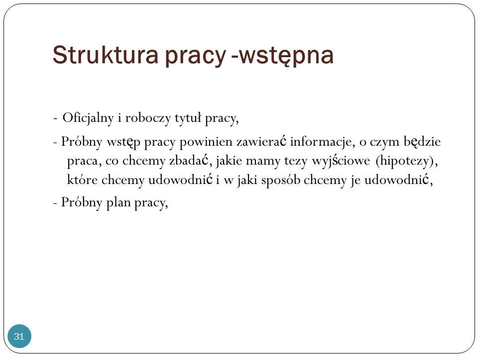 Struktura pracy -wstępna