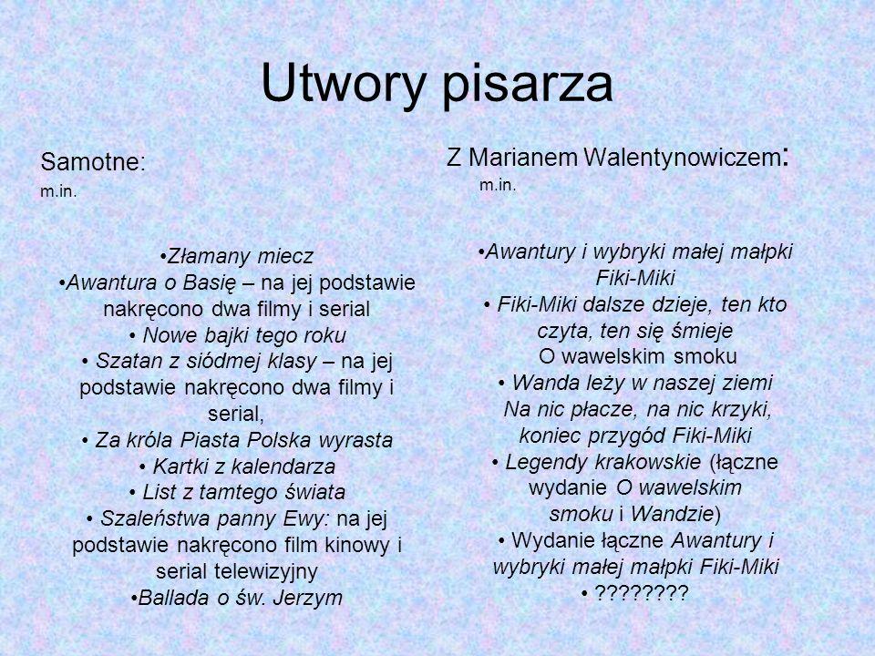 Utwory pisarza Z Marianem Walentynowiczem: m.in. Samotne: