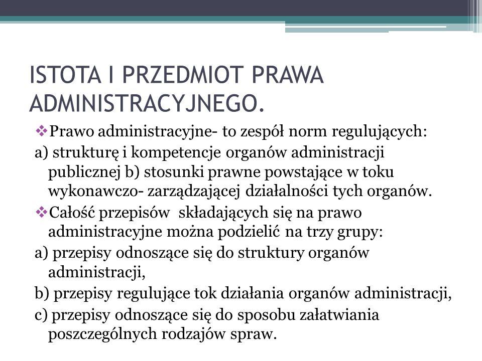 ISTOTA I PRZEDMIOT PRAWA ADMINISTRACYJNEGO.