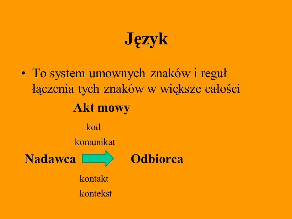 Język To system umownych znaków i reguł łączenia tych znaków w większe całości. Akt mowy. kod. komunikat.
