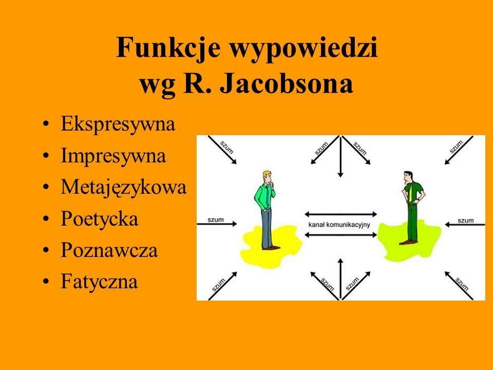 Funkcje wypowiedzi wg R. Jacobsona