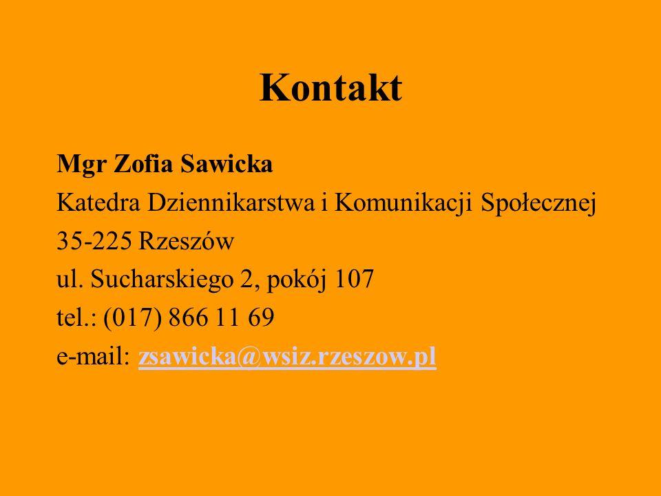 Kontakt Mgr Zofia Sawicka