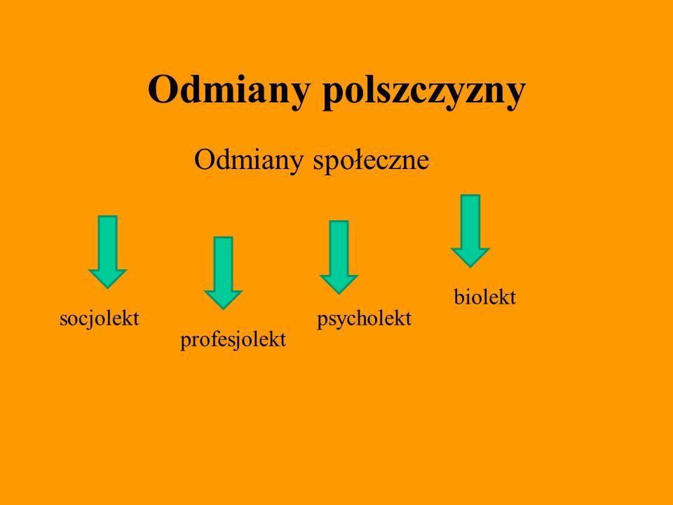 Odmiany polszczyzny Odmiany społeczne biolekt socjolekt psycholekt
