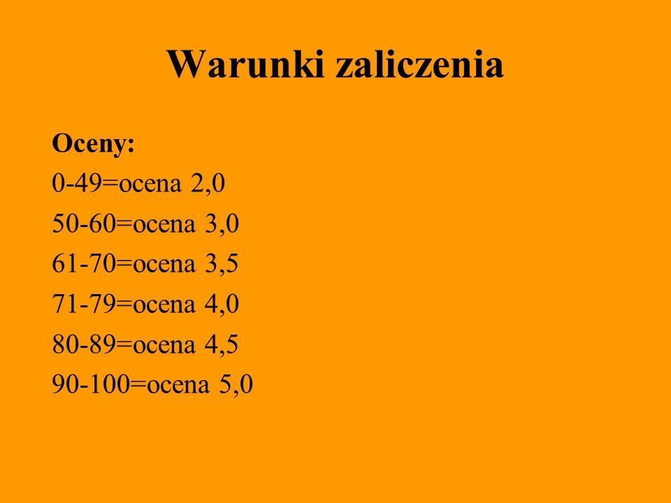 Warunki zaliczenia Oceny: 0-49=ocena 2,0 50-60=ocena 3,0