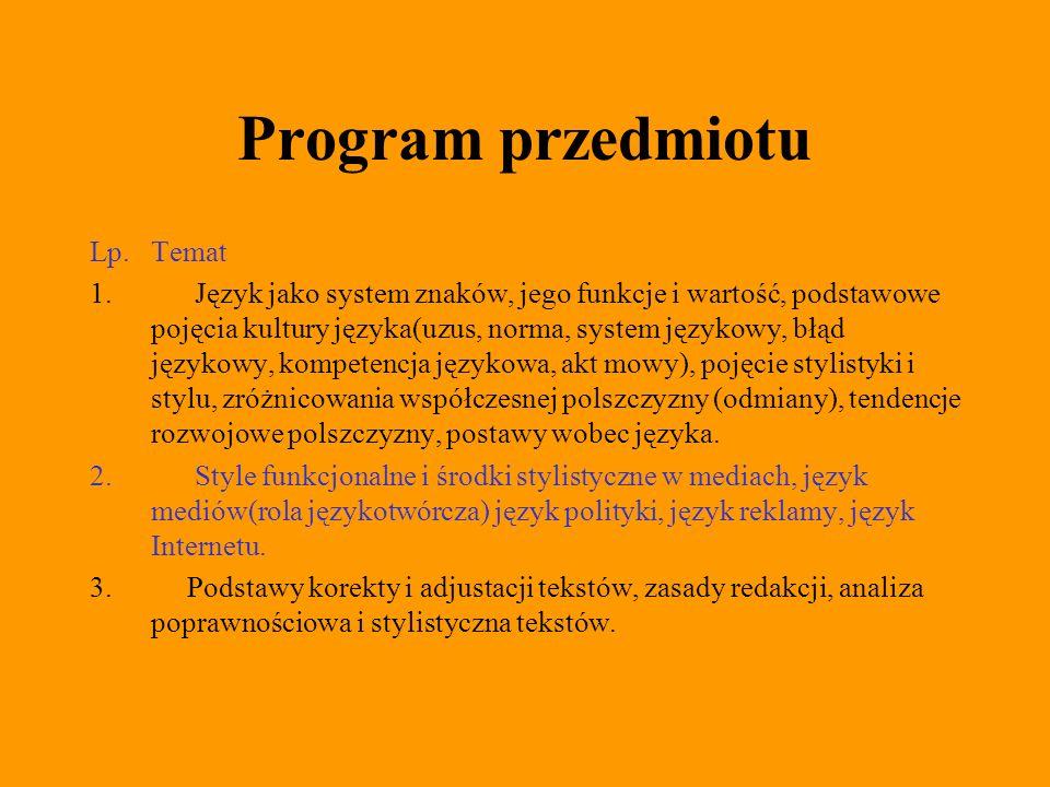 Program przedmiotu Lp. Temat