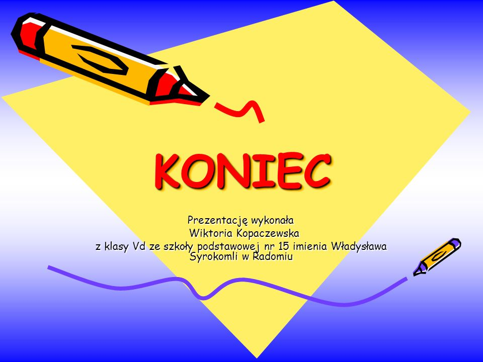 KONIEC Prezentację wykonała Wiktoria Kopaczewska