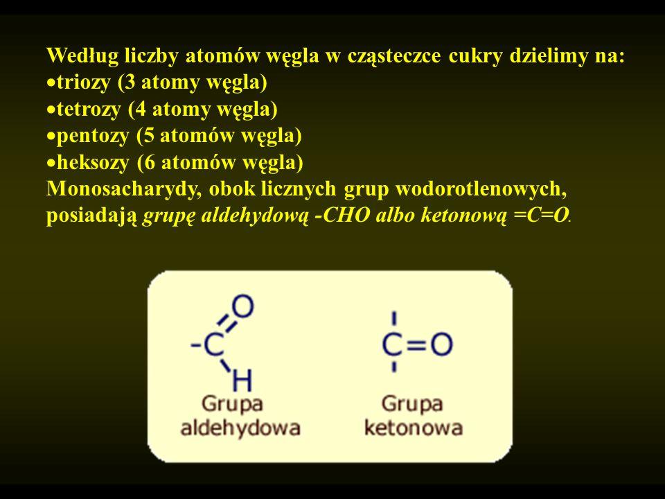 Według liczby atomów węgla w cząsteczce cukry dzielimy na: