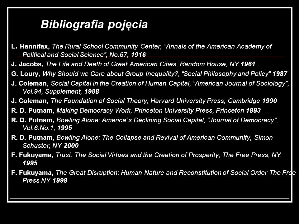 Bibliografia pojęcia L. Hannifax, The Rural School Community Center, Annals of the American Academy of Political and Social Science , No.67,