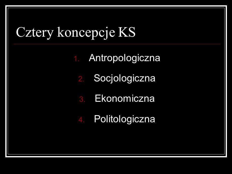 Cztery koncepcje KS Antropologiczna Socjologiczna Ekonomiczna