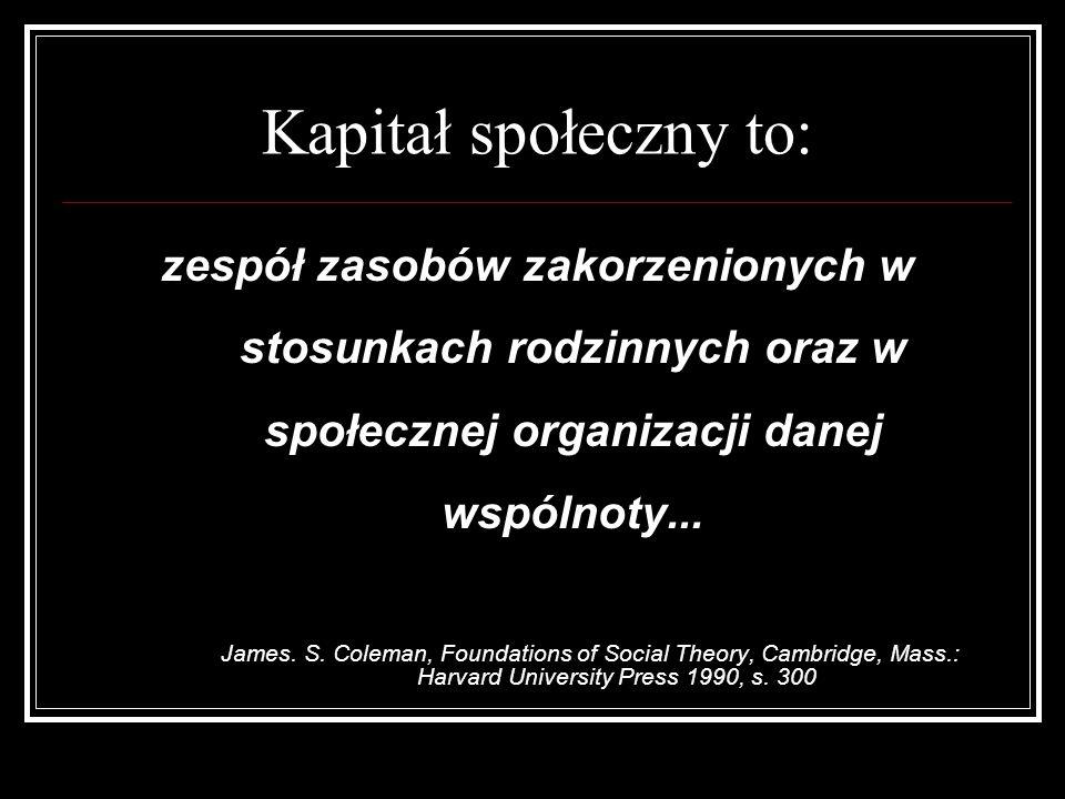 Kapitał społeczny to: zespół zasobów zakorzenionych w stosunkach rodzinnych oraz w społecznej organizacji danej wspólnoty...