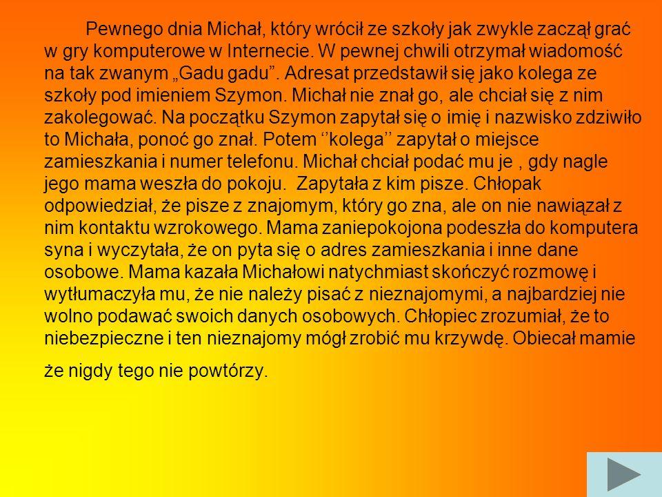 Pewnego dnia Michał, który wrócił ze szkoły jak zwykle zaczął grać w gry komputerowe w Internecie.