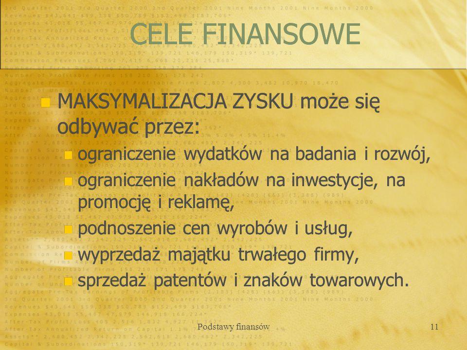 CELE FINANSOWE MAKSYMALIZACJA ZYSKU może się odbywać przez: