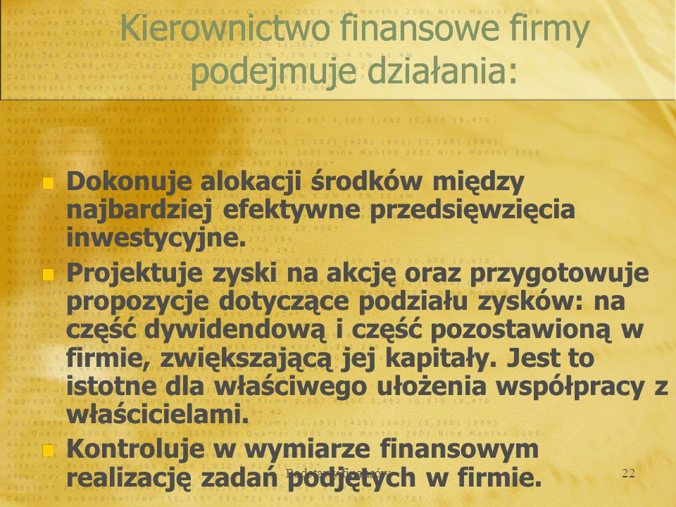Kierownictwo finansowe firmy podejmuje działania: