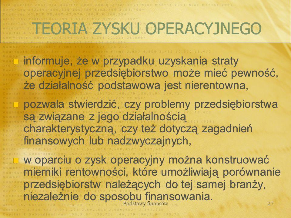 TEORIA ZYSKU OPERACYJNEGO