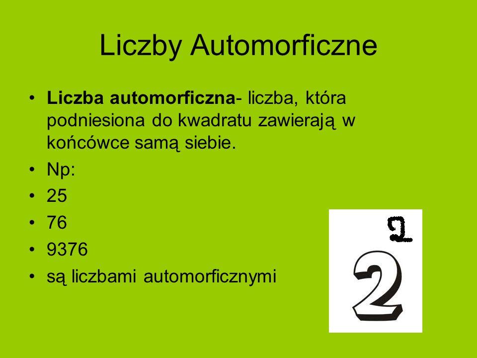 Liczby AutomorficzneLiczba automorficzna- liczba, która podniesiona do kwadratu zawierają w końcówce samą siebie.