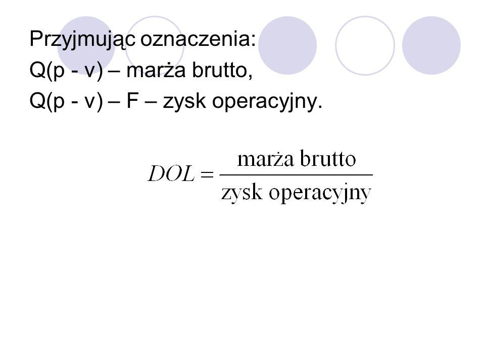 Przyjmując oznaczenia: Q(p - v) – marża brutto, Q(p - v) – F – zysk operacyjny.