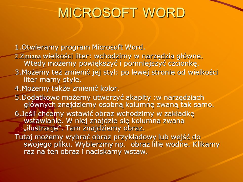 MICROSOFT WORD 1.Otwieramy program Microsoft Word.