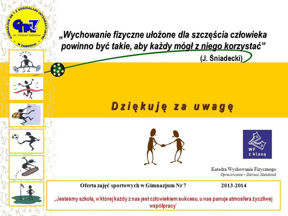 Oferta zajęć sportowych w Gimnazjum Nr 7 2013-2014