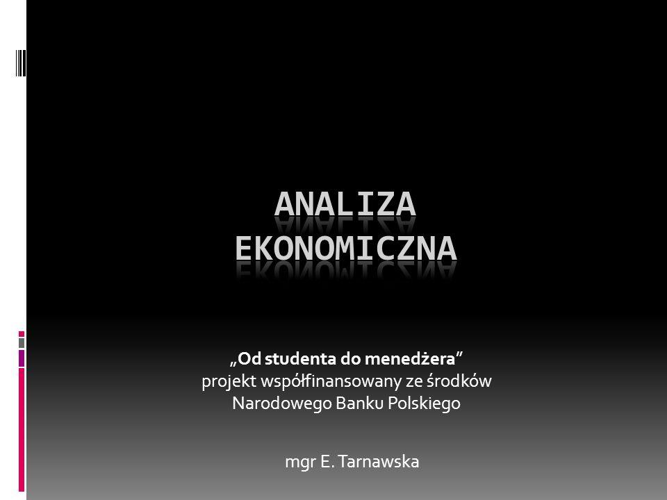 """Analiza ekonomiczna """"Od studenta do menedżera projekt współfinansowany ze środków Narodowego Banku Polskiego."""
