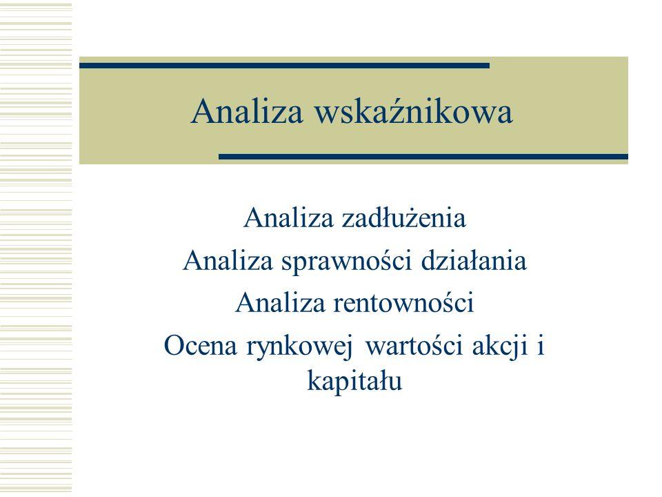 Analiza wskaźnikowa Analiza zadłużenia Analiza sprawności działania