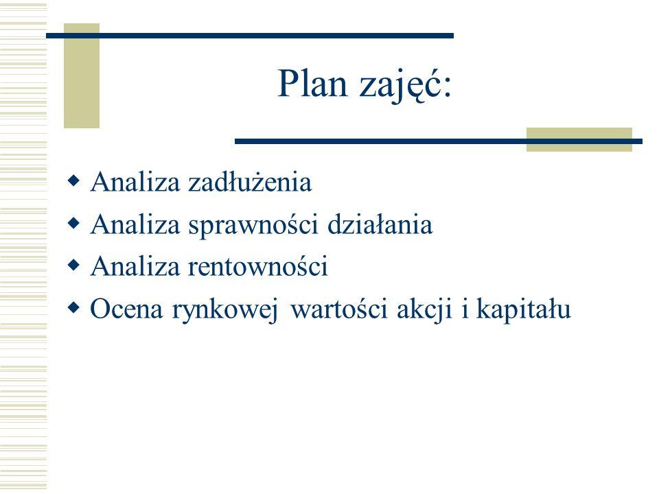 Plan zajęć: Analiza zadłużenia Analiza sprawności działania