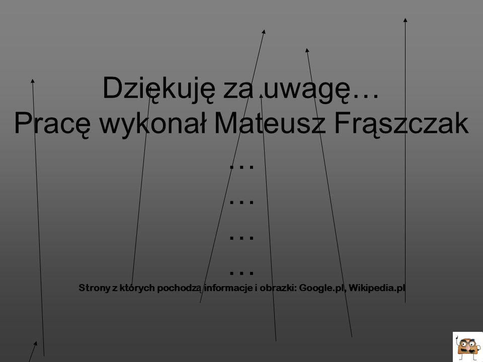 Dziękuję za uwagę… Pracę wykonał Mateusz Frąszczak … … … … Strony z których pochodzą informacje i obrazki: Google.pl, Wikipedia.pl