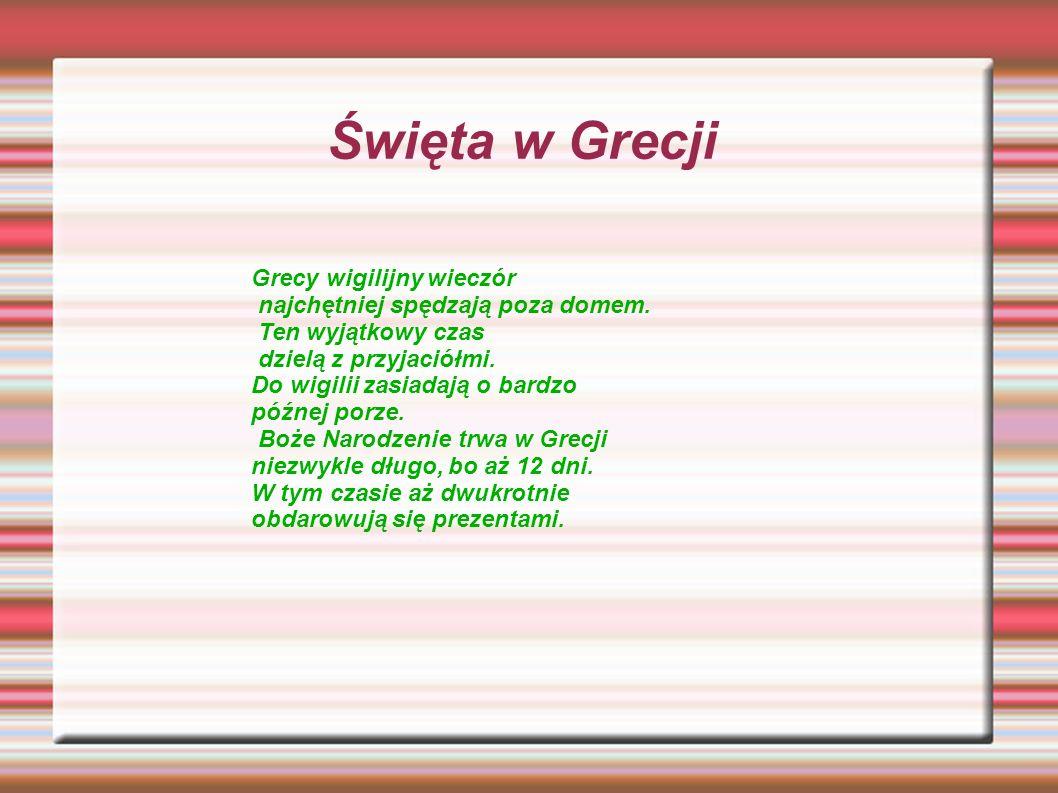 Święta w Grecji Grecy wigilijny wieczór